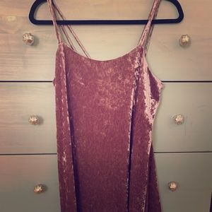 Rose pink crushed velvet dress